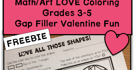 Valentine Math Art Gap Filler FREEBIE (Grades 3-5)