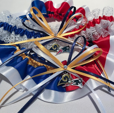 Super Bowl LIII Wedding Garter Set by Sugarplum Garters