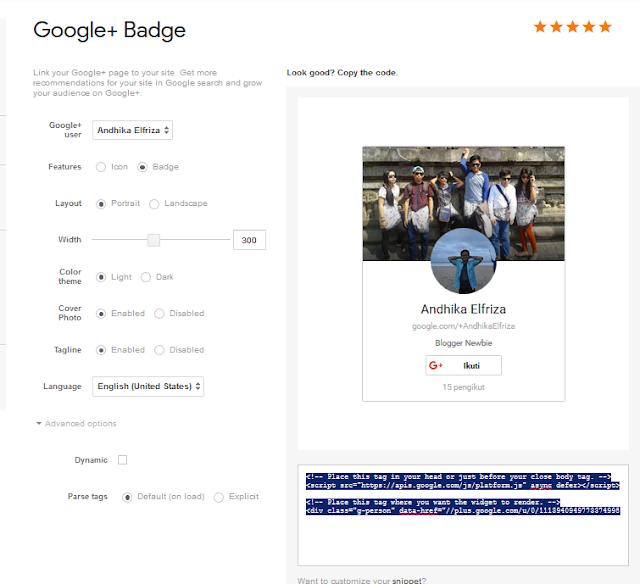 badge profil google plus dengan melalui halaman developer