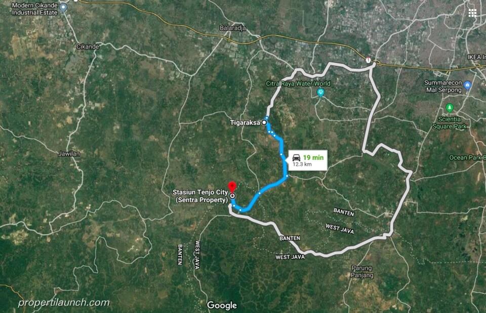 Lokasi Tenjo City ke Tigaraksa