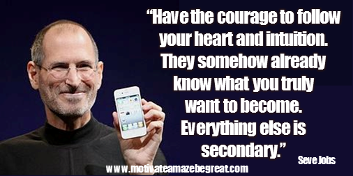 "Picture quote featured in the article ""Steve Job Quotes On Life"": a selection of the best 50 Steve Jobs Quotes on Life. This one is: ""Have the courage to follow your heart and intuition. They somehow already know what you truly want to become. Everything else is secondary."""