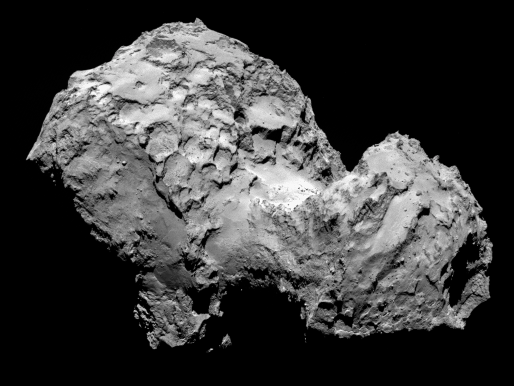 Comet 67P/Churyumov-Gerasimenko Comet 67P/Churyumov-Gerasimenko   Comet 67P/Churyumov-Gerasimenko by Rosetta's OSIRIS narrow-angle camera on 3 August from a distance of 285 km. The image resolution is 5.3 metres/pixel.  Image Credit & Copyright: ESA/Rosetta/MPS for OSIRIS Team MPS/UPD/LAM/IAA/SSO/INTA/UPM/DASP/IDA