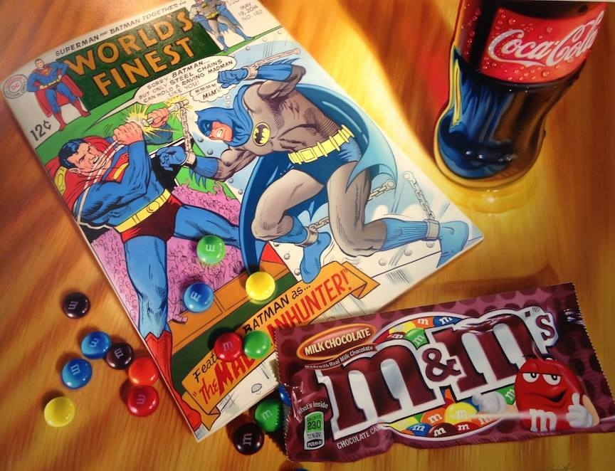 02-Batman-v-Superman-m&m-Doug-Bloodworth-Vintage-Comics-in-Hyper-Realistic-Painting-www-designstack-co
