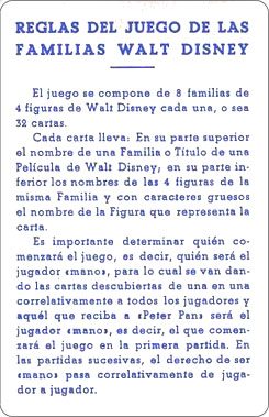 Juego Familias Walt Disney Carta Reglamento 2