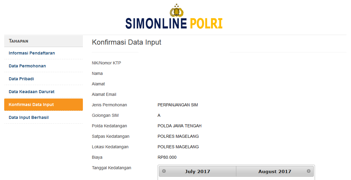 Konfirmasi Data Input