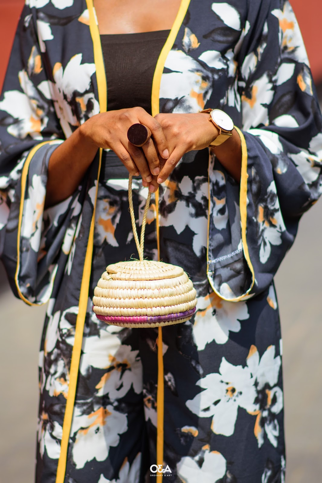 styling a mini straw bag