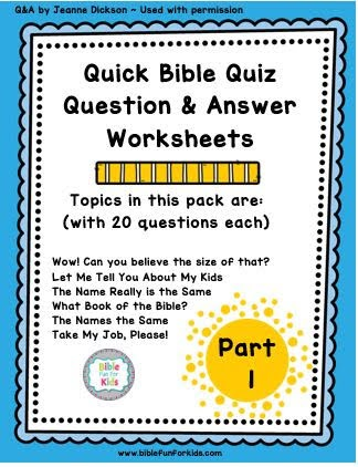 Bible Fun For Kids: Quick Bible Quiz Part 1