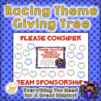 This Racing Themed Giving Tree is perfect to get your supplies for Back-to-School Nite or Open House!