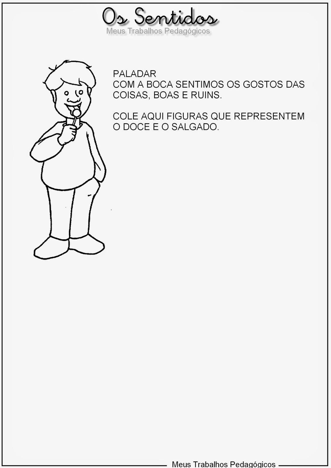 Populares Atividade sobre os 5 sentidos - Imprimir - Mundinho da Criança JM69