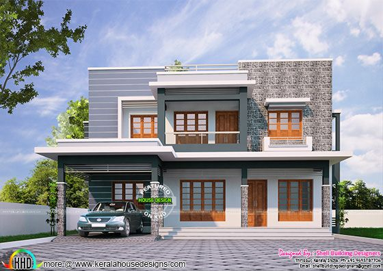 2085 sq-ft flat roof 4 bhk home