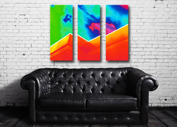 multi coloured, rainbow, geometric, abstract, art, contemporary, modern, wall art, canvas wall art, Sam Freek,