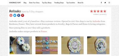 Ma petite boutique Anilouka* est mis à la une sur le site internet américain d'Handmade Hunt! Des étoiles scintillent dans ma tête 🌟🌟, rien que d'y penser, tellement j'en suis fière et honorée!!