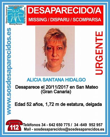 Una mujer, Alicia Santana Hidalgo, vecina de San Mateo, se encuentra  desaparecida