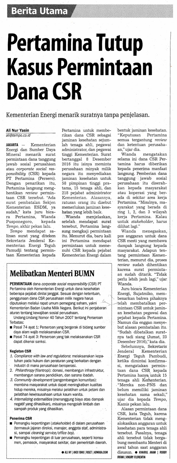Pertamina Csr Case Cover Solicitation Of Funds Media