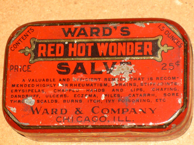 old red medicine box Ward's red hot wonder, chicago, ill.