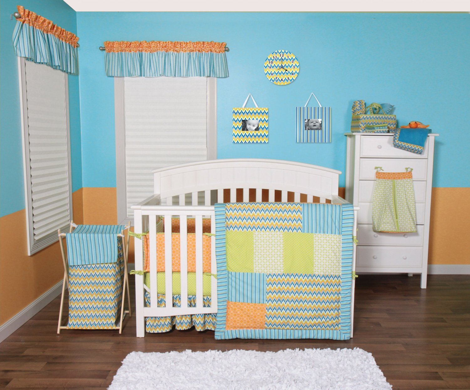 Orange And Blue Nursery Bedding Set By Trend Labs Levi Chevron