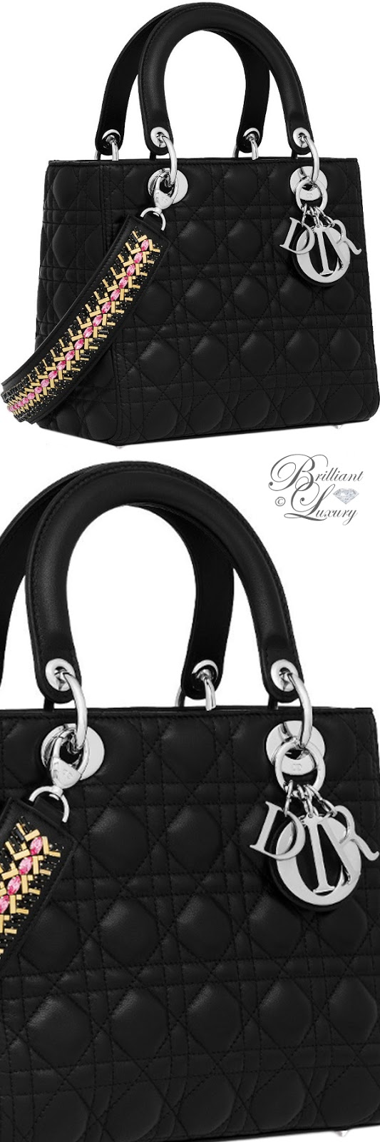 Brilliant Luxury ♦ Black lambskin Lady Dior bag with embroidered strap with crystals