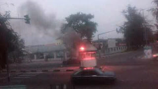 BREAKING NEWS: More Trouble In Calabar,  As Nigeria Navy Set Police Barrack Ablaze (PHOTOS)