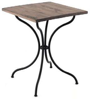 Mesa velador pie de forja y madera maciza