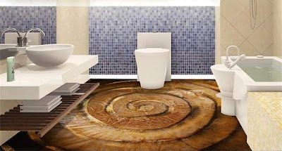 3D bathroom floor murals with epoxy painting