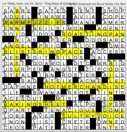 L A Times Crossword Corner Sunday July 29 2012 Gail