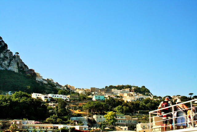 isola, Capri, cielo, vegetazione, turisti
