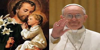 imagem de São José e o Papa Francisco