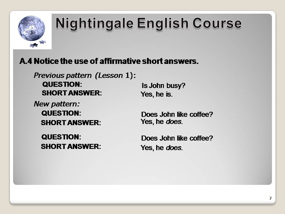 English Sentence Structure- Lesson 2 exercise 6 - English NOW!