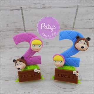 Vela decorada com nome Masha e o Urso para menino - Topo de bolo para festa Infantil - biscuit