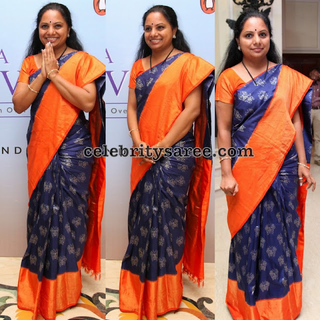 MP Kavitha Blue Ikkat Saree