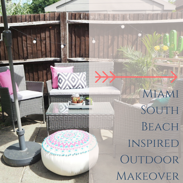 Miami South Beach inspired garden outdoor makeover creating a summer dining area on a budget and using items from the high street. Featuring colourful homeware and interiors, and an IKEA hack turning a Sunnersta trolley into a glamorous drinks trolley bar cart.