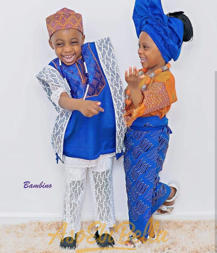 60 Edition of #ebfablook - We Present New Kids Trends of Aso ebi style Lace & African Print outfits