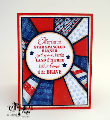 Our Daily Bread Designs Stamp Set: Let Freedom Ring, Paper Collection: Stars and Stripes, Custom Dies: Circles, Double Stitched Circles, Double Stitched Rectangles, Pierced Rectangles, Sparkling Stars