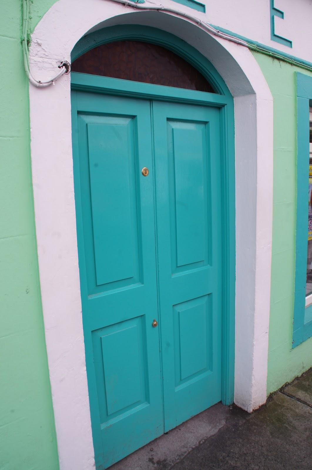 Bright blue door in Kinvarra Ireland
