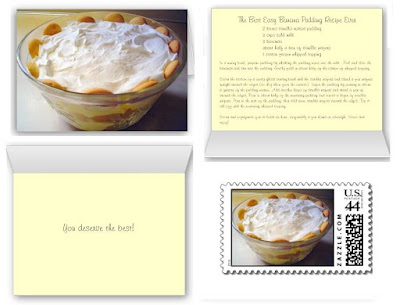 This Banana Pudding recipe card makes a useful, unique gift. Include the matching stamps to make the set complete!