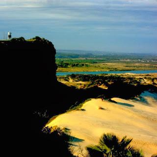 Farol da Marinha no Morro dos Conventos. Dunas da Praia de Morro dos Conventos, à Direita. E Rio Araranguá, ao Fundo.