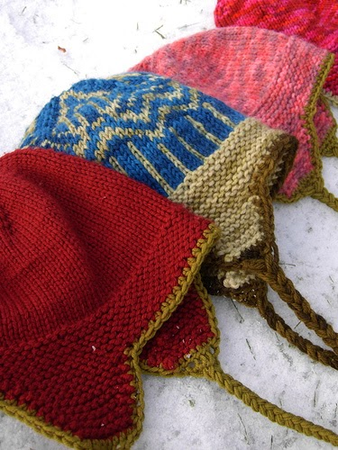 knitnscribble.com: Earflap hat patterns solid color ...