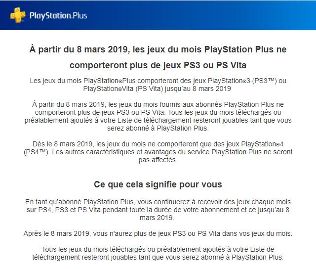 PS+ : fini les jeux PS3 et PSVita!
