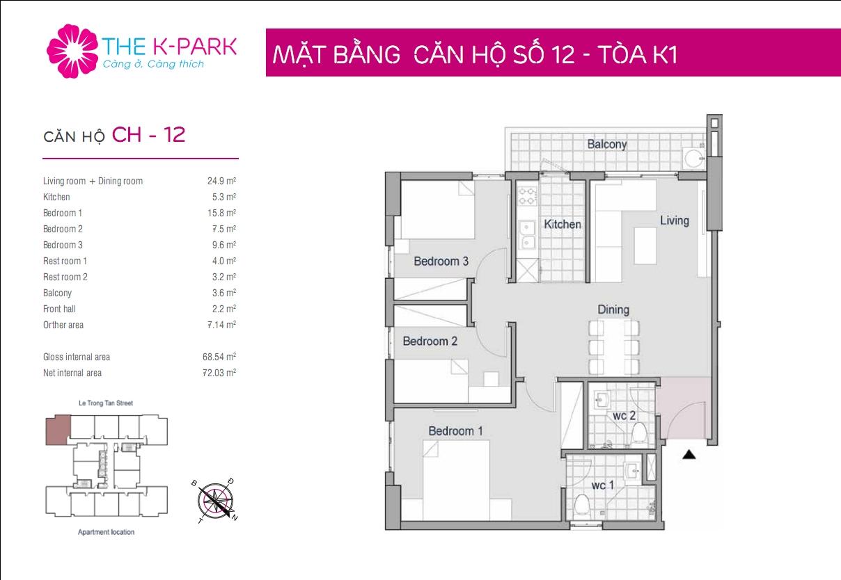 Mặt bằng căn hộ số 12- Tòa K1