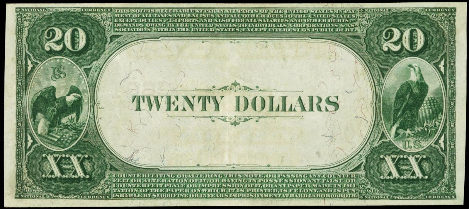 US National Currency 1882 Twenty Dollars Value Back