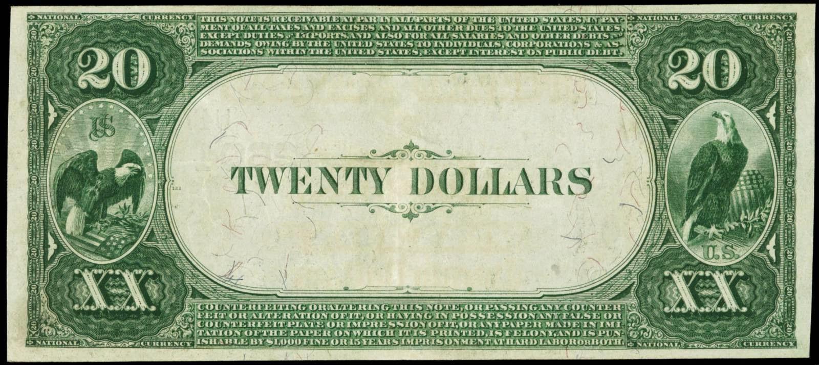 US National Currency 1882 Twenty Dollars Value Back