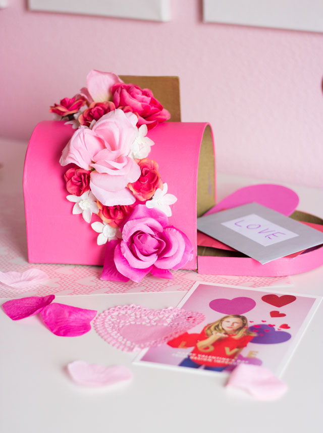 Such a beautiful valentine box idea - decorate a mailbox with artificial flowers!