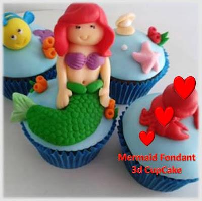 Cupcake 3d karakter mermaid imut lucu dan cantik