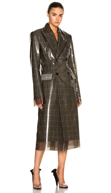 CALVIN KLEIN'S 205W39NYC GLEN PLAID WOOL & MATTE POLYURETHANE FILM TRENCH COAT