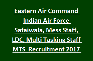 Eastern Air Command Indian Air Force Safaiwala, Mess Staff, Lower Division Clerk, Multi Tasking Staff MTS Group C Recruitment 2017 132 Govt Jobs