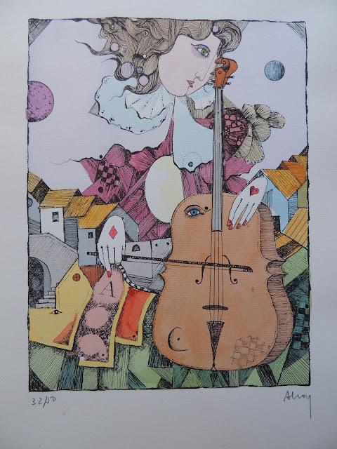 Eduard Alcoy litografía serie tarot con violín