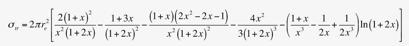 Equation 15.22 in Intermediate Physics for Medicine and Biology, giving the cross section for energy transferred to electrons during Compton scattering, as a function of photon energy. It is the ugliest equation in the book.