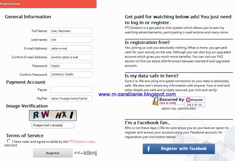 PTCSolution - formularz rejestracyjny