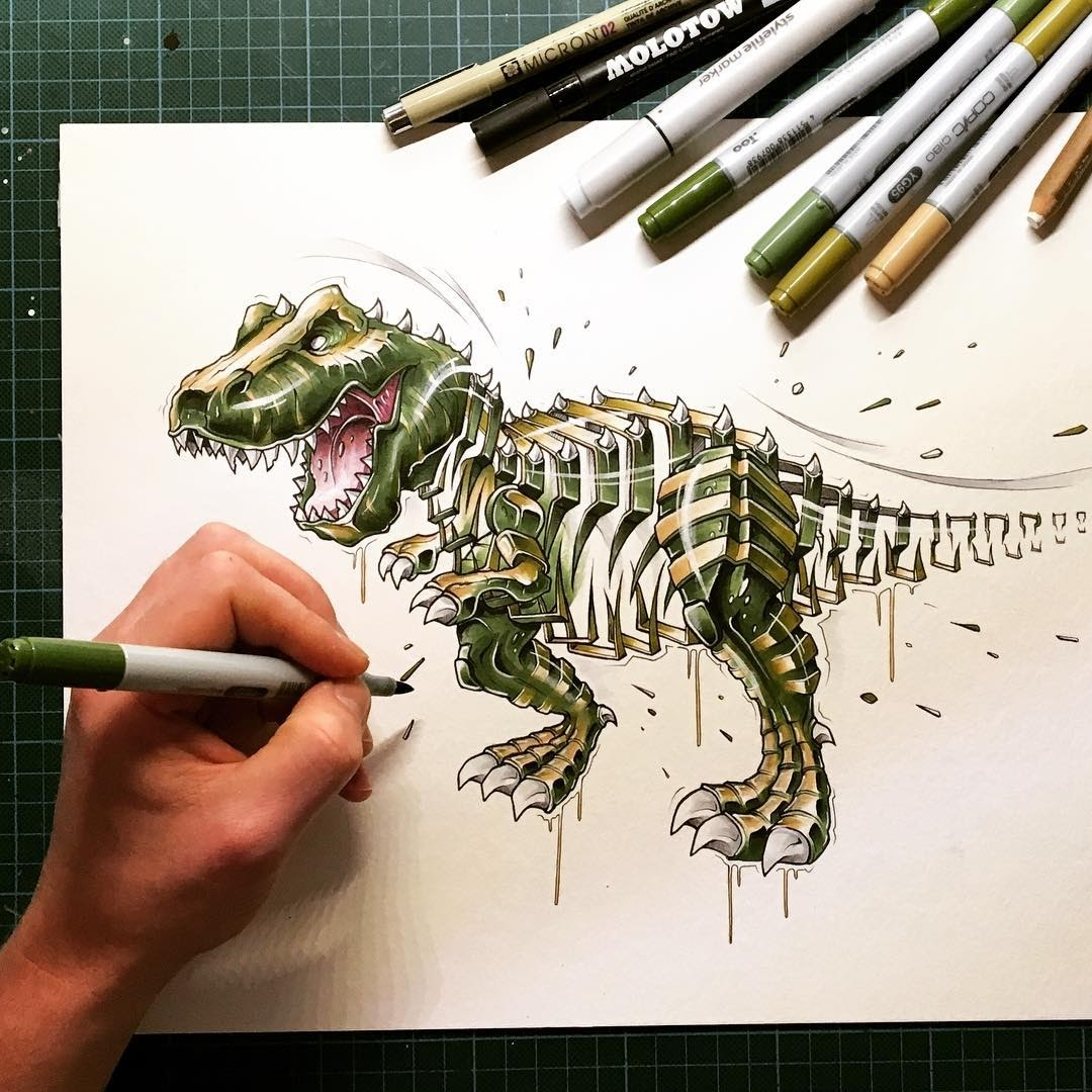 16-T-Rex-JAYN-ABS-Crew-Slice-Animal-Portraits-Stylised-Looks-www-designstack-co