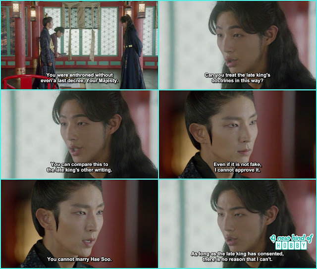 king wang so first said the doctrine is fake then he said he cant allow him to marry hae soo  - Moon Lovers Scarlet Heart Ryeo - Episode 19